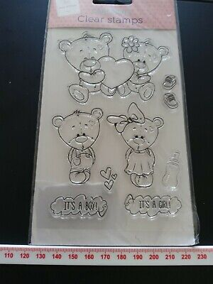 00346 Set Of Teddy Bear Clear Rubber Stamps • 3.49£