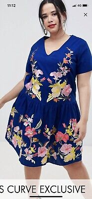 AU25 • Buy Asos Curve Women's Emboidered Dress Size 16
