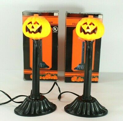 $25.99 • Buy 2 Vintage Plastic Blow Mold Halloween Pumpkin Electric Lighted Candles