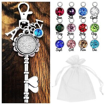 16th 18th 21st BIRTHDAY GIFT,LUCKY SIXPENCE KEY 30th 40th 50th 60th BIRTHSTONE • 2.95£