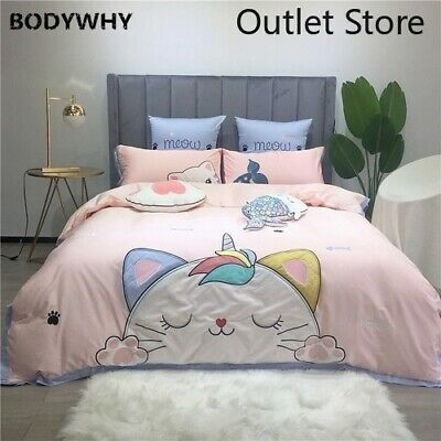 Cute Cat Duvet Cover Bedding Set Soft 100%Egyptian Cotton Bed Sheets Quilt Cover • 163.24£