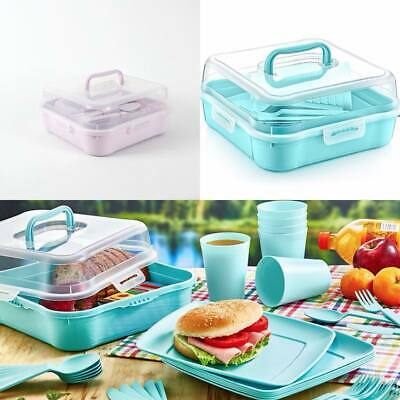 £14.70 • Buy 32 Piece Plastic Picnic Camping Party Dinner Plate Mug Cutlery Set Storage Box