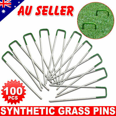 AU19.85 • Buy 100 U Shaped Garden Artificial Turf Grass Pins Lawn Tent Pegs Weed Mat Fastening