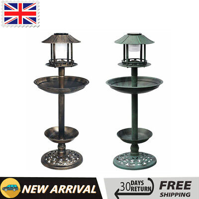 Bird Bath With Solar Light Outdoor Garden Patio Feeder Bronze/Green Wildlife • 32.79£
