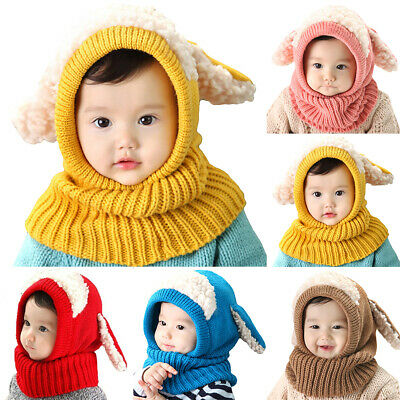 Winter Baby Hat Cute Girls Boys Hooded Scarf Toddler Warm Earflap Knitted Cap • 5.98£