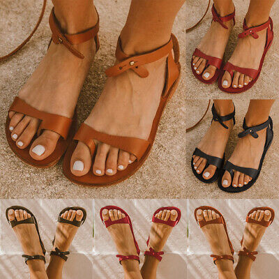 Womens Flat Slip On Sandals Ladies Ankle Strap Summer Beach Sandals Shoes Size • 10.99£