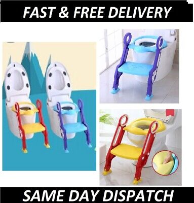 Portable Potty Toilet Seat Adjustable Baby Toddler Kid Trainer Step Stool Ladder • 14.85£