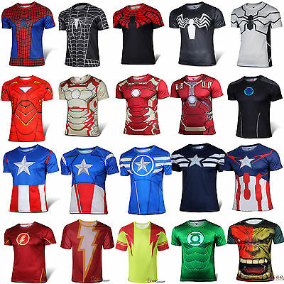 Mens Marvel Compression T-Shirt Short Sleeve Gym Running Base Layer Sports Tops • 11.69£