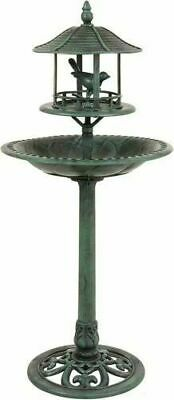 Kingfisher Ornamental Garden Bird Bath With Sheltered Feeding Table BB01 (HS) • 69.99£