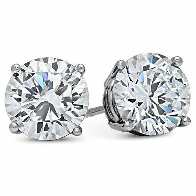 $8.99 • Buy MENS 4 CARAT CZ Stud Earrings Round Large Guys Cubic Zirconium WHITE GOLD FILLED