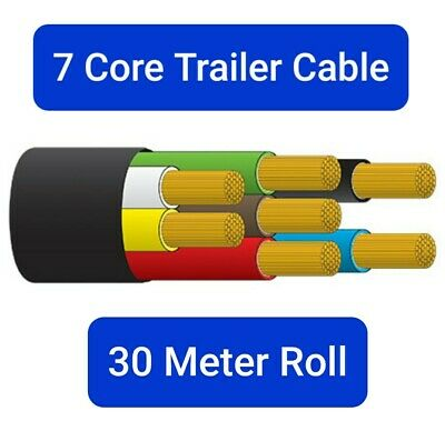 AU129.95 • Buy 7 Core Trailer Cable - 30 Meter Roll - 3mm Trailer Wire Black Sheath- Free Post