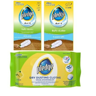 Pledge Fluffy Dusters Starter Kit Dry Dusting Cleaning Cloth Pack Duster Refills • 8.99£