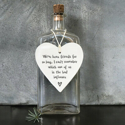 East Of India 'Bad Influence' Wobbly Porcelain White Hanging Heart Friend Gift • 6.49£