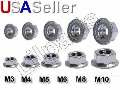 $8.99 • Buy Stainless Steel SS Hex Serrated Flange Nuts Metric 304 18-8 M3 M4 M5 M6 M8 M10