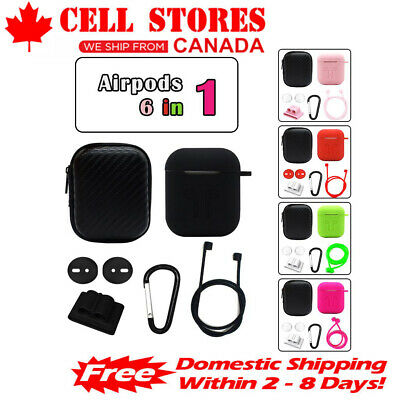 $ CDN9.99 • Buy Silicone Protective AirPods Case Cover W/ Grips Clips For Apple AirPods 1 2 Pro
