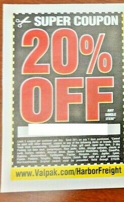 $2.99 • Buy Harbor Freight 20% Off Single Item Coupon - Home Depot, Lowe's! ~ Exp. Aug 30
