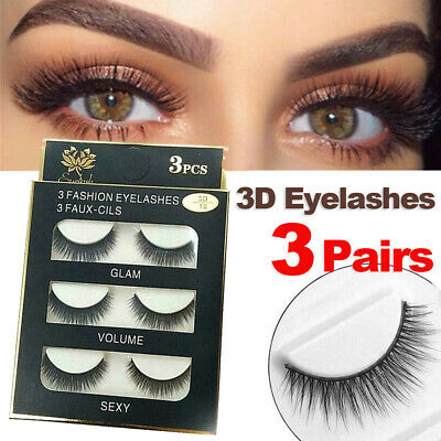 AU5.99 • Buy Eyelashes 3 Pairs Natural Long Thick Makeup Cross False Eye Lashes AU Stock Mink