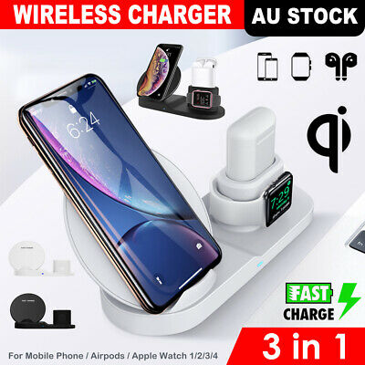 AU26.95 • Buy 3in1 QI Wireless Charger Charging Station Dock For Apple Watch / IPhone/ AirPod