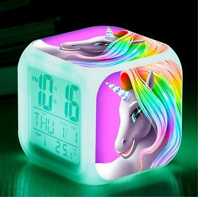 AU26 • Buy Girl Children Unicorn Digital Desk Led Alarm Clock Night Light Christmas Gift