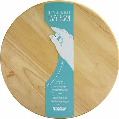 £13.95 • Buy Wooden Rotating Tray Round Lazy Susan Turnable Serving Solid Plate Pizza Board