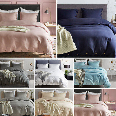 £30.06 • Buy Soft Solid Modern Duvet Quilt Cover Pillowcase Bedding Sets Twin Queen King Size