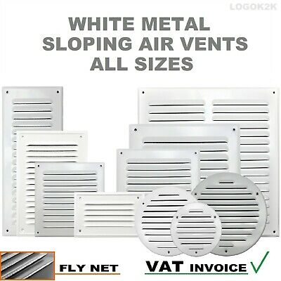 £2.99 • Buy WHITE Metal Louvre Air Vent Grille Cover Metal Duct Ventilation Flat Circle