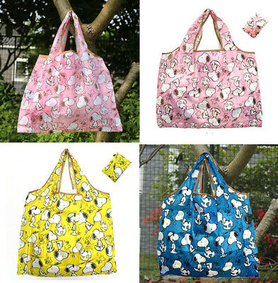 Large Snoopy Peanuts Reusable Foldaway Shopper Tote Bag 2 Colours Waterproof • 5.35£