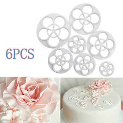 6 Piece Rose Flower Fondant Mould Cutter Cake Decorating Cookies Mold Cupcake • 4.67£