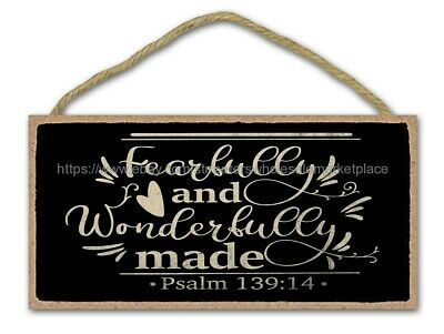 Cheap Plaque Fearfully And Wonderfully Made Christian Bible Verse Wood Sign • 11.50£