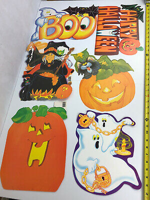 $ CDN36.98 • Buy Lot 6 VTG Halloween Diecut Eureka Decorations Witch Ghost Pumpkin Black Cat JOL