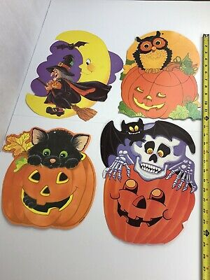 $ CDN26.41 • Buy Lot 4 VTG Eureka Halloween Diecut Decoration Owl Witch Bat Pumpkin Black Cat JOL