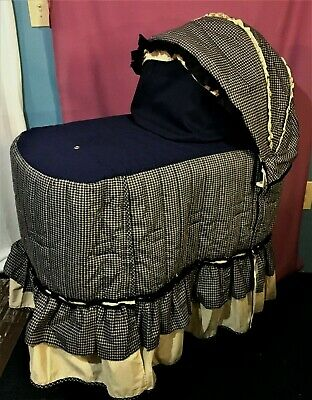$54 • Buy GRACO Blue Checkered Quilted Bassinet Skirt, Sheet, Storage Shelf, Canopy EUC