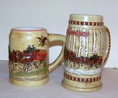 $ CDN181.62 • Buy Anheuser Busch Budweiser 1980 & 1981 Christmas First 2 Holiday Steins Mugs Nice