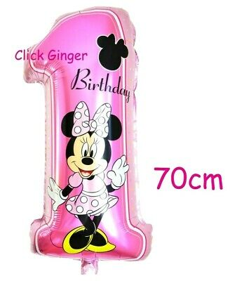AU3.95 • Buy Minnie Mouse 1st First Birthday Pink No 1 Foil Balloon 70cm Helium Decoration