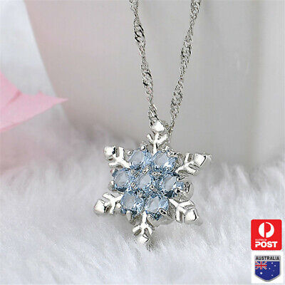 AU6.89 • Buy Blue Crystal Snowflake Pendant Silver Chain Frozen Necklace Flower Girl Gift