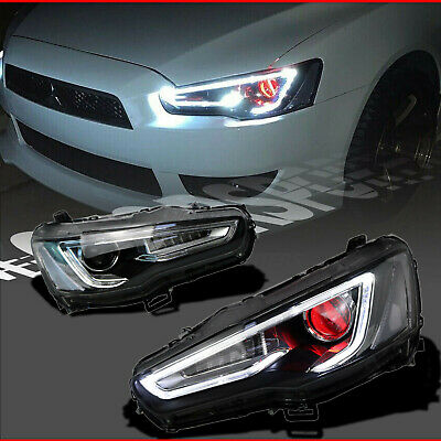 AU608.94 • Buy Fit For 08+ Lancer EVO X CJ Red Devil Eyes Halo Projector LED Headlight A5 Style