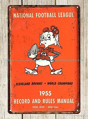 Vintage Wall Art 1955 Football Record & Rules Manual Cleveland Browns Tin Sign • 11.29£