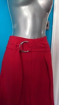 River Island Trousers Cullotes S 8 Palazzo Red Summer Dress Wide Work Smart Belt • 36.99£