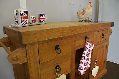 Solid Oak Double Sided Butchers Block/island With Drawers, Storage/wine Rack • 450£