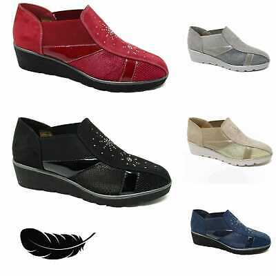 Ladies Womens Slip On Shoes Comfy Casual Low Wedge Pumps Trainers Loafers • 9.99£