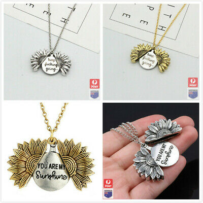 AU7.19 • Buy Sunflower You Are My Sunshine Open Locket Pendant Gold/Silver Necklace Chain