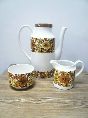 Vintage Washington Pottery Beaconsfield 70's Sunflower Coffee Pot • 15£