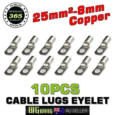 AU11.39 • Buy 10x 25mm2 3AWG Wire Lugs Copper Cable Terminals Rings 25-8mm Eyelets Connectors