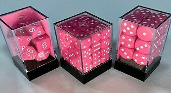 AU11.95 • Buy Chessex Dice Sets: Pink/white Opaque 16mm D6 (12)