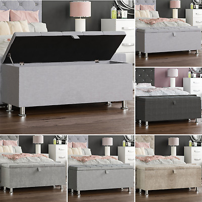 Storage Ottoman Seat Stool Bench Chest Toy Box Pouffee Footstool Bedroom Trunk • 63.95£