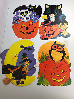 $ CDN35.66 • Buy Lot 4 VTG Eureka Halloween Diecuts Cut Outs Owl Witch Bat Skeleton Black Cat JOL