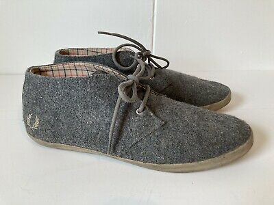 Mens Uk 10 Grey Wool Felt Fred Perry Lace Up Shoes Plimsoles • 16£