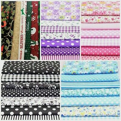 7 Mixed Cotton Fabric Material Sewing Bundle Scraps Offcuts Quilting Mask Making • 4.40£