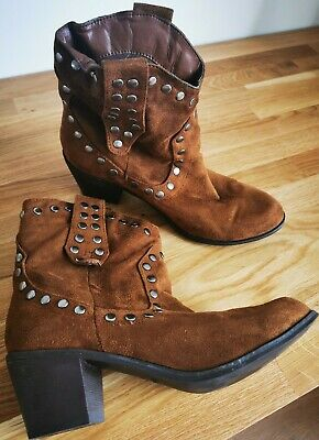 London Rebel Faux Suede Tan Western Ankle Boots Size 5 • 22.99£