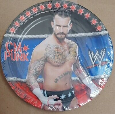 WWE CM PUNK Cake Dessert Plates 7 Inch Sealed Birthday Party • 7.15£